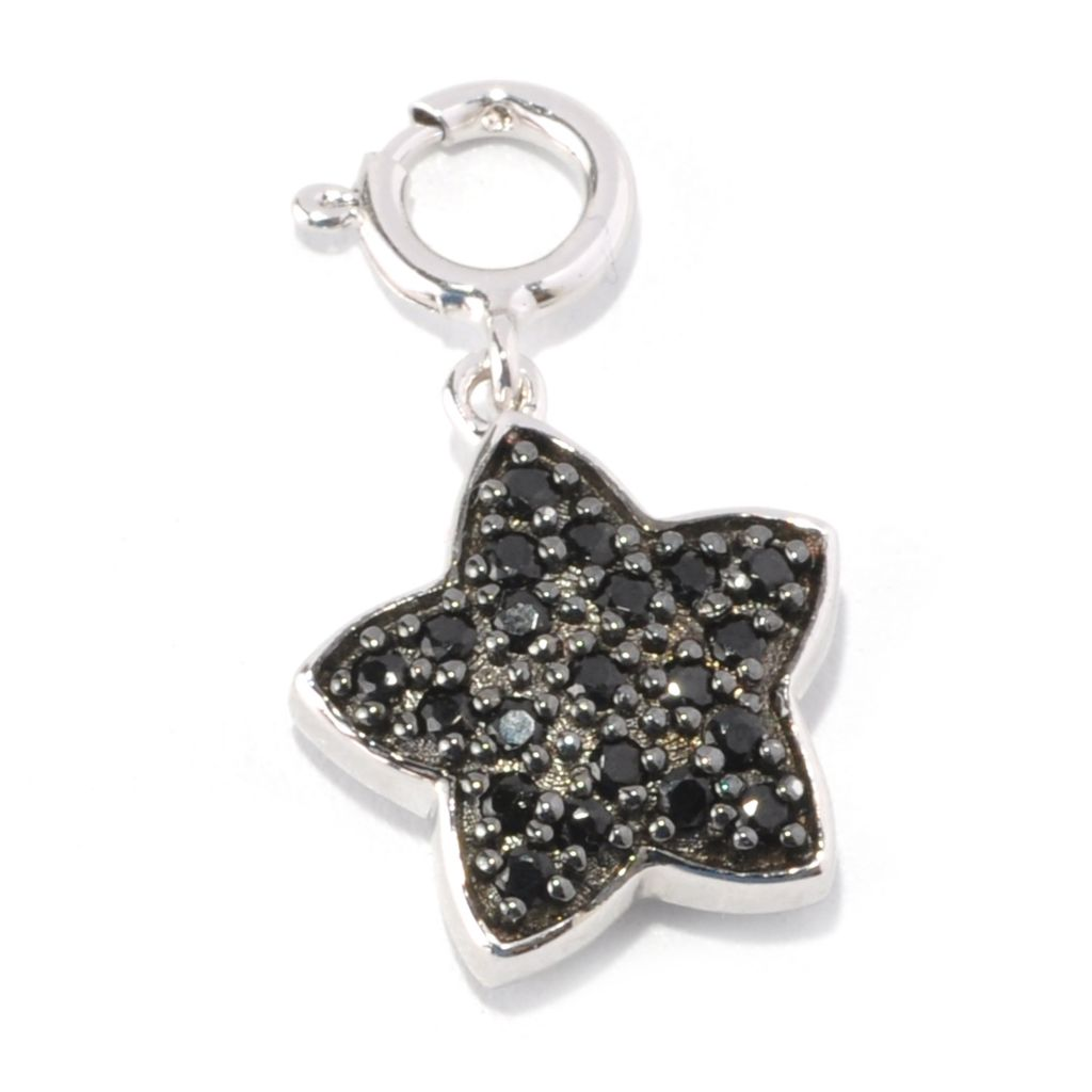 128-770 - NYC II Black Spinel & White Zircon Double Sided Star Charm