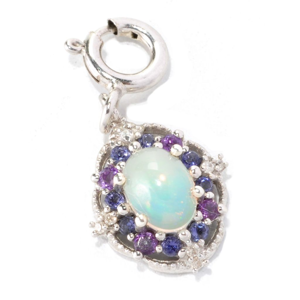 128-772 - NYC II 7 x 5mm Ethiopian Opal & Multi Gemstone Halo Charm