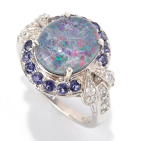 128-774 - NYC II 12 x 10mm Boulder Opal Triplet, Iolite & White Zircon Halo Ring