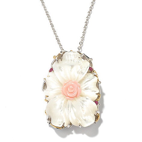 128-775 - Gems en Vogue 30 x 22mm Carved Mother-of-Pearl, Conch Shell & Pink Sapphire Pendant