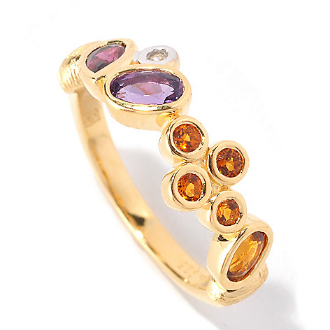 128-786 - Michelle Albala Multi Gemstone Polished & Brushed Scattered Band Ring