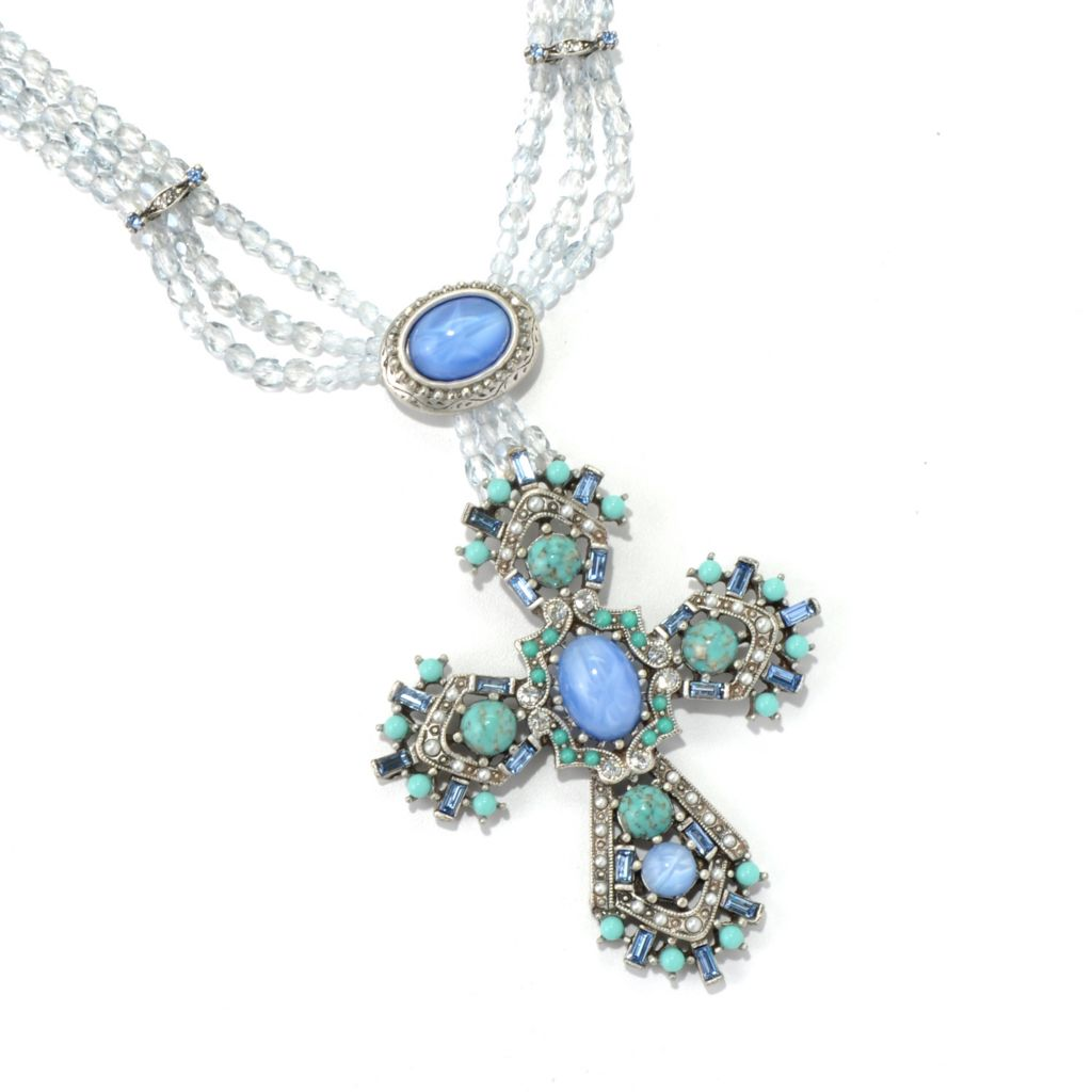 "128-788 - Sweet Romance™ ""British Regalia"" Beaded Cross Necklace"