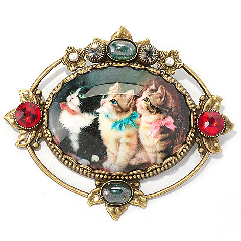 128-794 - Sweet Romance&trade Crystal & Glass Vintage-Inspired Oval Pin