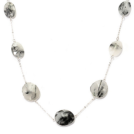 128-818 - Gem Treasures Sterling Silver 24'' Black & Grey Rutilated Quartz Station Necklace