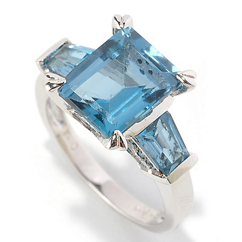 128-838 - Gem Insider Sterling Silver 4.97ctw Emerald Cut Blue Topaz & Blue Diamond Ring