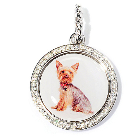 128-848 - Gem Treasures Sterling Silver White Sapphire Round Dog Charm w/ Enhancer Bail
