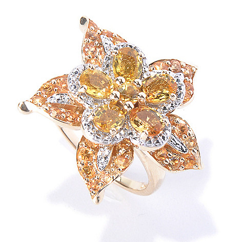 128-851 - Gem Treasures 14K Gold 3.61ctw Yellow & Gold Sapphire Flower Ring