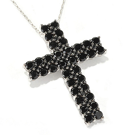 128-893 - Gem Treasures Sterling Silver 17.75'' Two-Row Black Spinel Cross Pendant w/ Chain