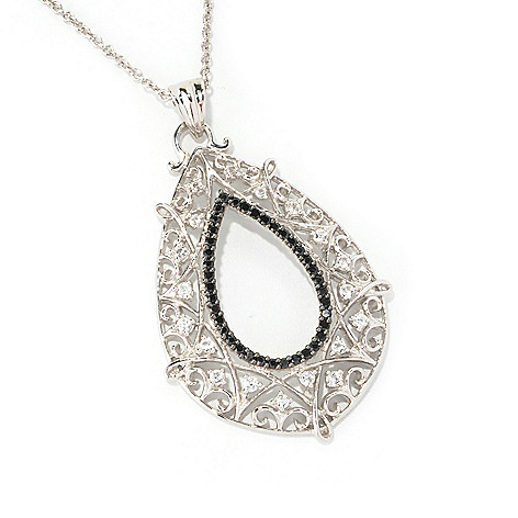 128-894 - Gem Treasures Sterling Silver White Topaz & Spinel Teardrop Pendant w/ Chain