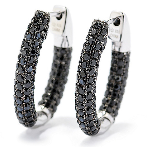 128-904 - Gem Treasures Sterling Silver Black Spinel Oval Hoop Earrings