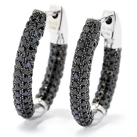 128-904 - Gem Treasures Sterling Silver Black Spinel Oval Hoop Earrings