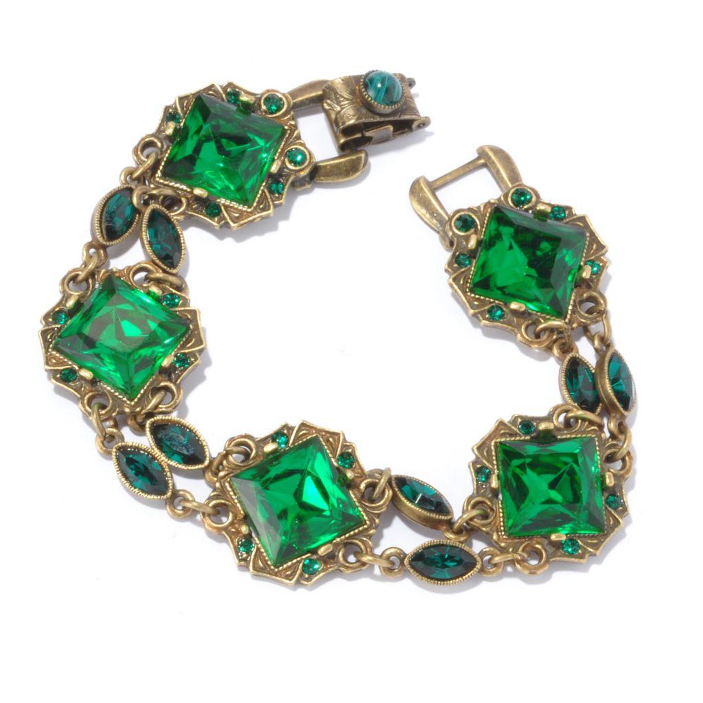 "128-914 - Sweet Romance™ 7.5"" Green Crystal Art Deco Style Bracelet"