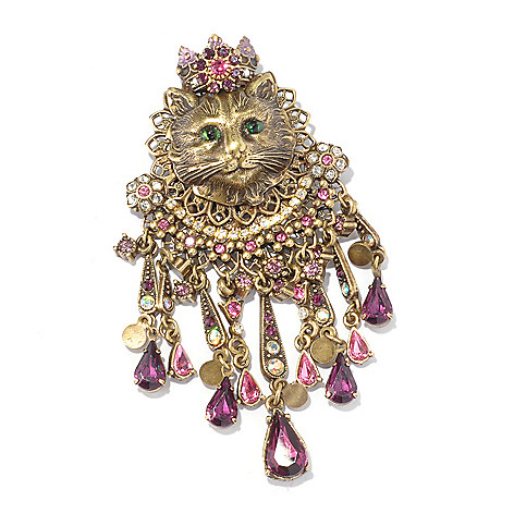 128-915 - Sweet Romance™ Gold-tone Filigreed Victorian-Inspired Cat Pin