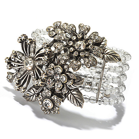 128-918 - Sweet Romance™ Silver-tone Beaded Crystal Corsage Flower Stretch Bracelet