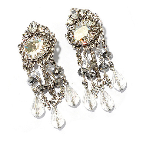 128-925 - Sweet Romance™ Crystal Encrusted Clip-on Dangle Earrings