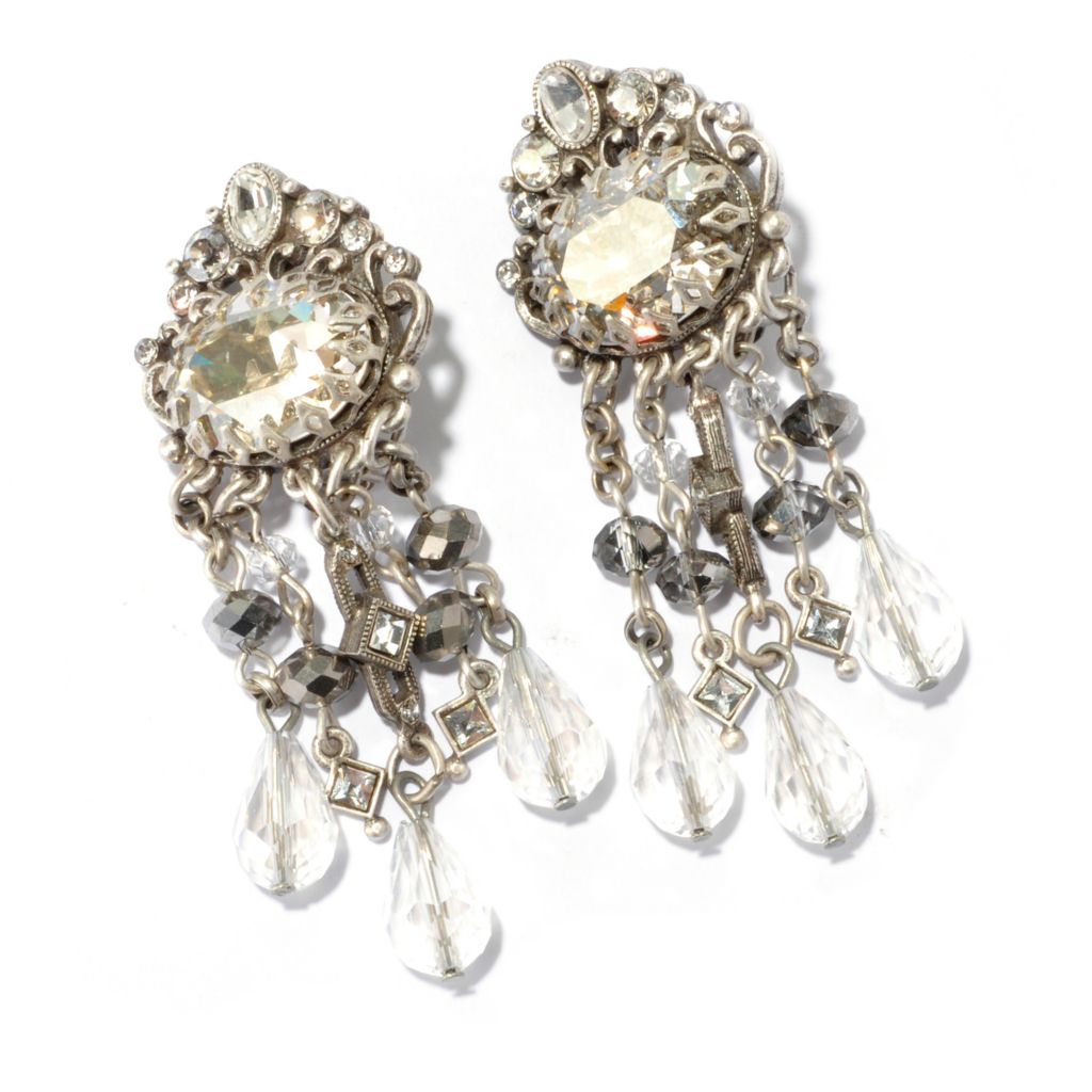 "128-925 - Sweet Romance™ 2.5"" Crystal Encrusted Art Deco-Inspired Clip-on Dangle Earrings"