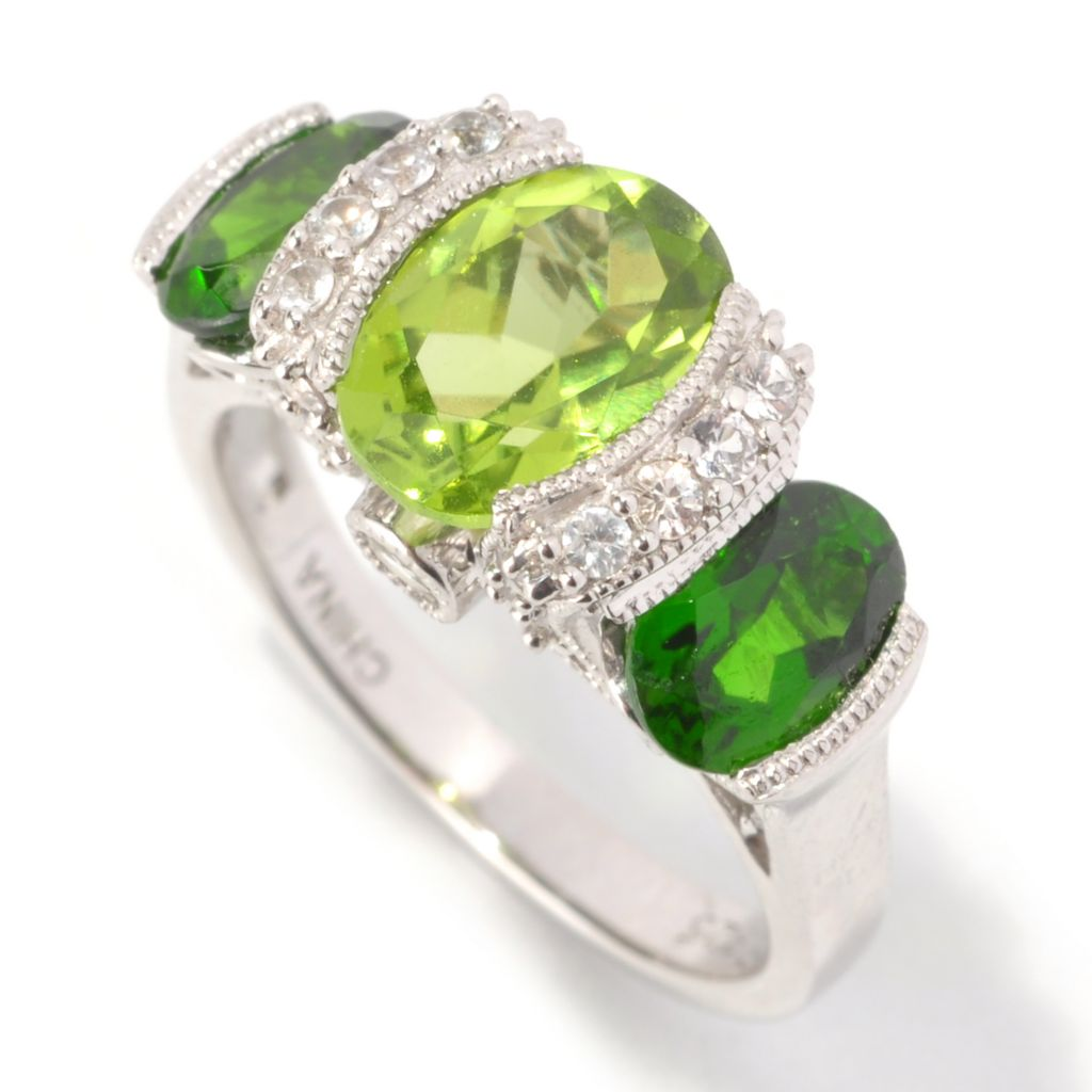 128-957 - Gem Insider Sterling Silver 3.18ctw Peridot, Chrome Diopside & Sapphire Ring