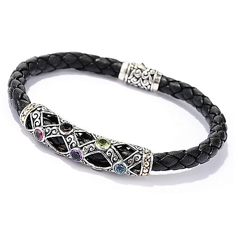 128-979 - Artisan Silver by Samuel B. 1.75ctw Multi Gemstone Leather Bracelet
