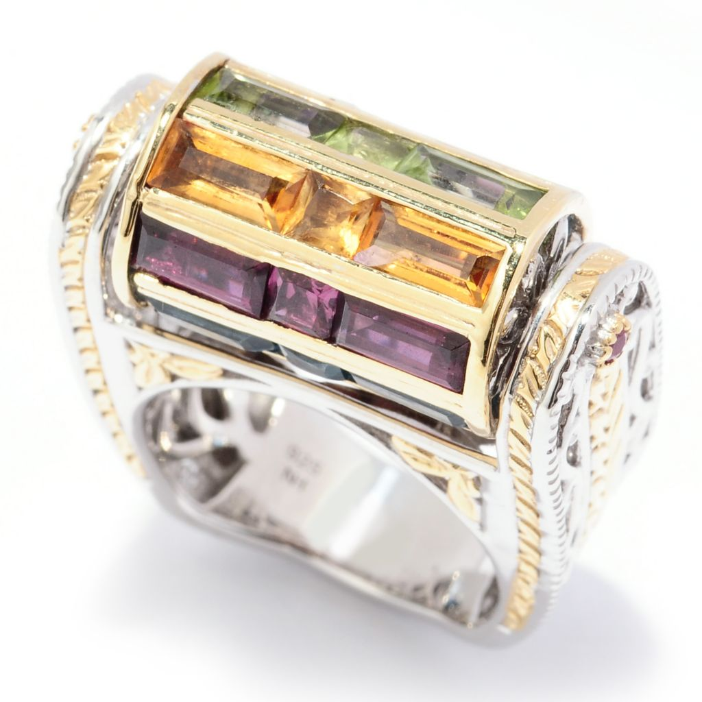 128-990 - Gems en Vogue II 6.05ctw Baguette Cut Multi Gemstone Spin Top Ring