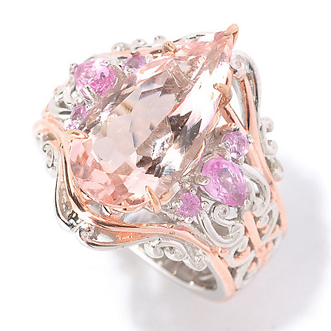 128-991 - Gems en Vogue II 3.69ctw Pear Shaped Morganite & Pink Sapphire Ring