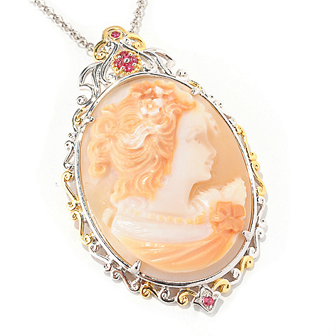 128-992 - Gems en Vogue 40 x 30mm Reverse Carved Portrait Cameo Pendant w/ Chain