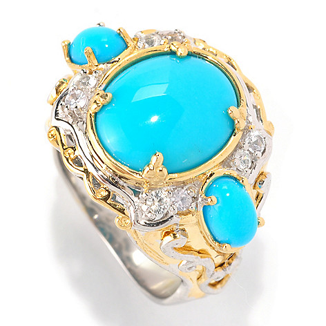 128-994 - Gems en Vogue 12 x 10mm Sleeping Beauty Turquoise & White Sapphire Ring