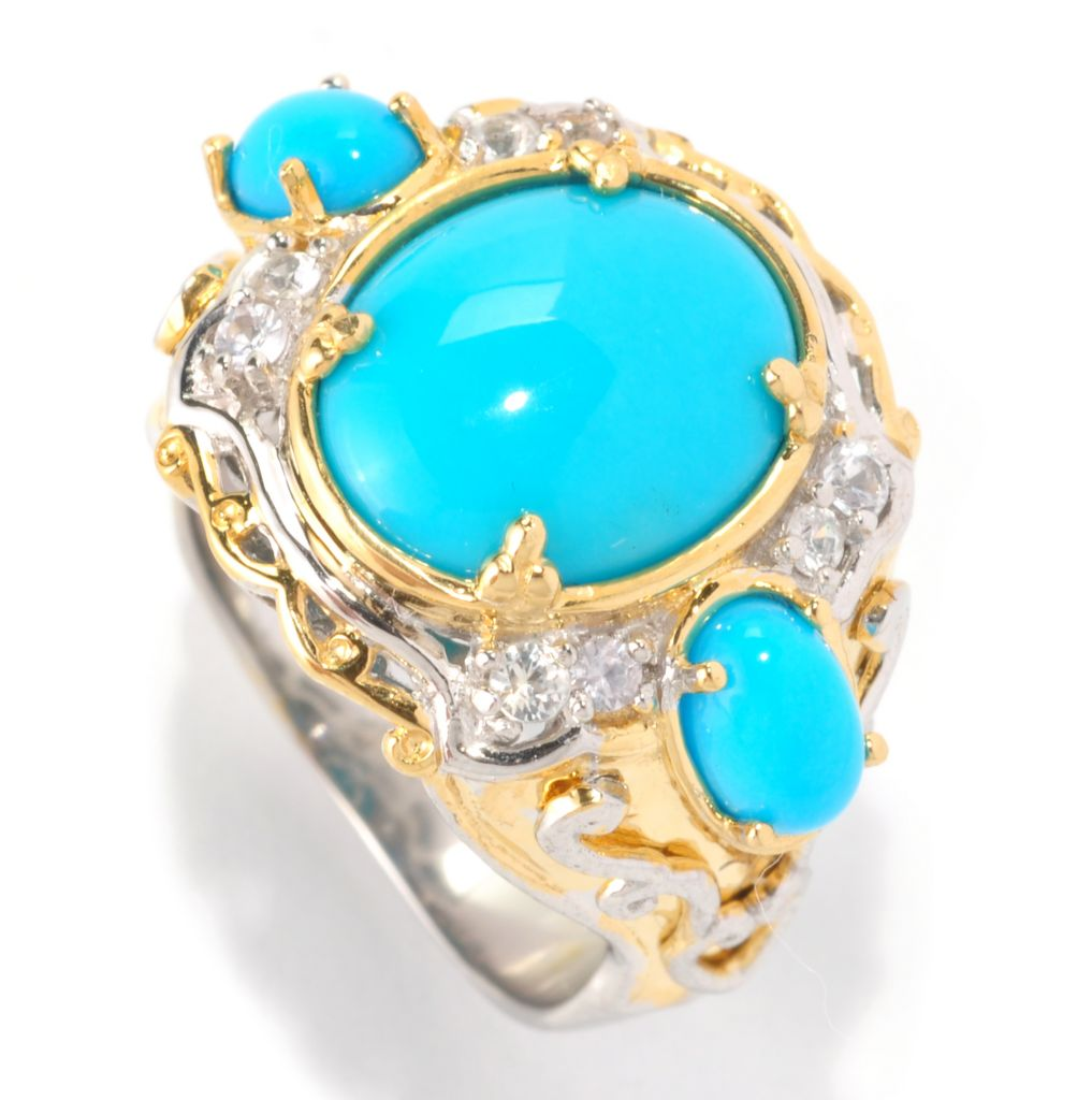 128-994 - Gems en Vogue II 12 x 10mm Sleeping Beauty Turquoise & White Sapphire Ring