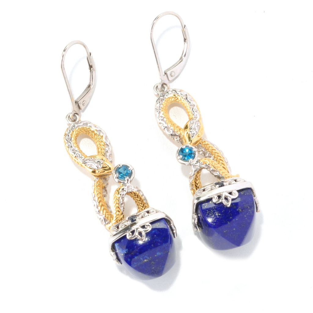 128-997 - Gems en Vogue 12 x 12mm Lapis Lazuli & Multi Gem Snake Drop Earrings