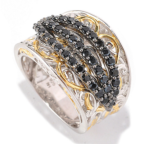 129-002 - Gems en Vogue II 1.56ctw Black Spinel Three-Row Cigar Band Ring