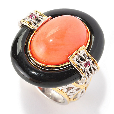 129-010 - Gems en Vogue II 16 x 12mm Bamboo Coral, Black Onyx & Ruby Ring