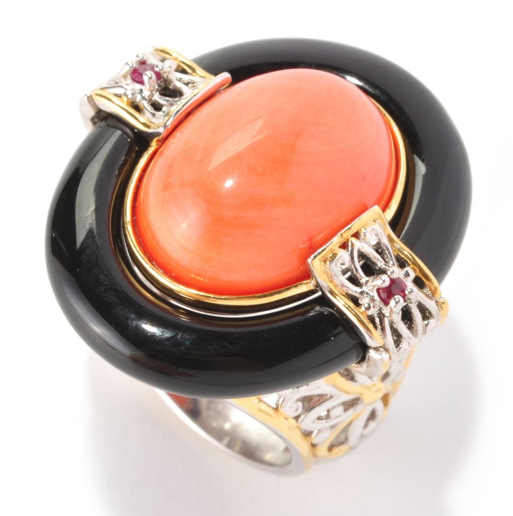 129-010 - Gems en Vogue 16 x 12mm Bamboo Coral, Black Onyx & Ruby Ring