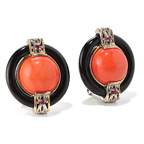 129-011 - Gems en Vogue 12mm Bamboo Coral, Onyx & Ruby Button Earrings