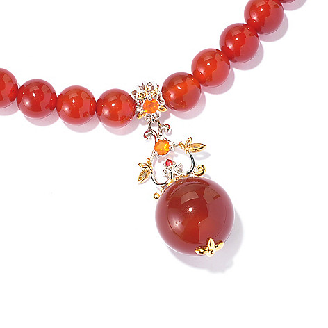 129-014 - Gems en Vogue 20'' Carnelian Bead, Fire Opal & Orange Sapphire Necklace