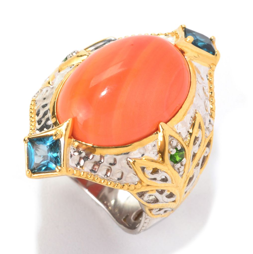 129-016 - Gems en Vogue 18 x 13mm Bamboo Coral, London Blue Topaz & Chrome Diopside Ring