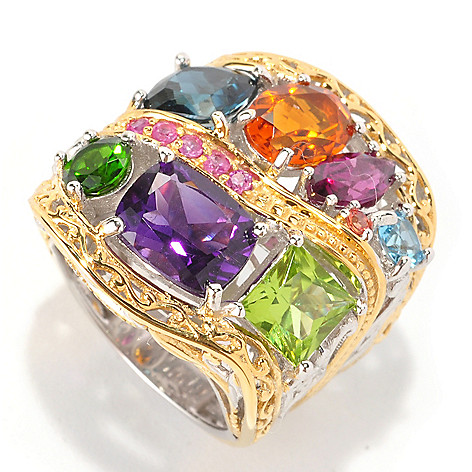 129-017 - Gems en Vogue 7.45ctw Multi Gemstone ''Beverly Hills'' Ring