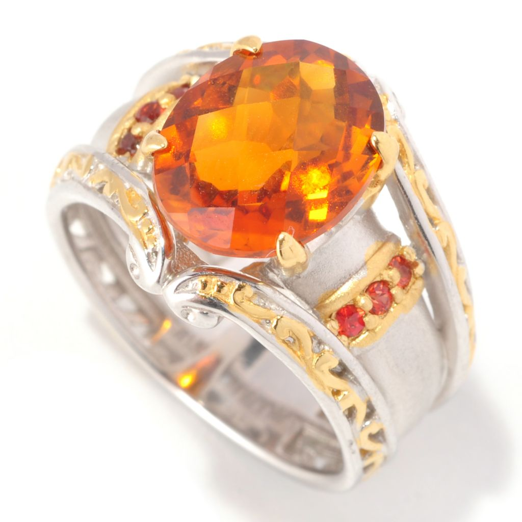 129-018 - Gems en Vogue 3.20ctw Fire Citrine & Orange Sapphire Ring