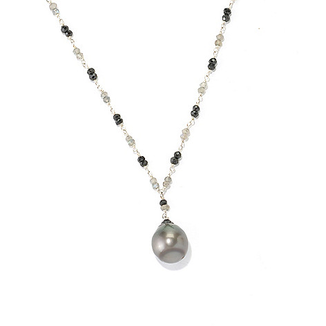 129-041 - Sterling Silver 19.5'' 13-14mm Tahitian Cultured Pearl, Labradorite & Spinel Necklace