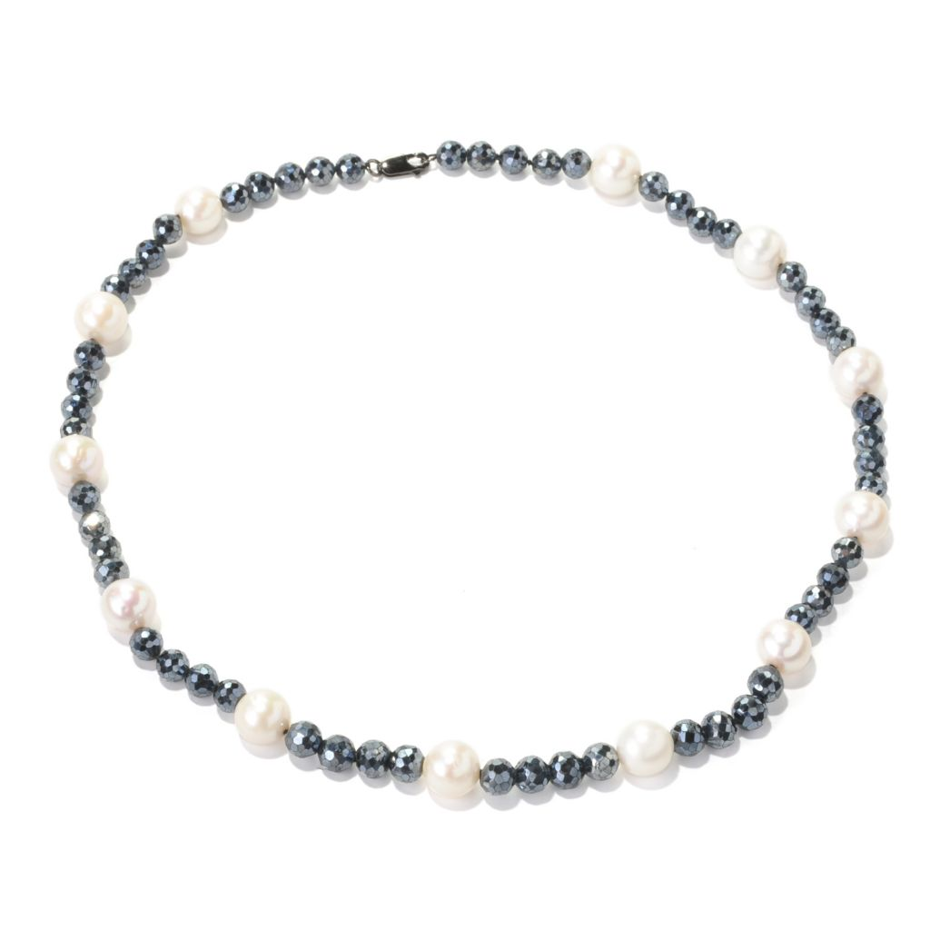 "129-042 - Sterling Silver 20"" 10-11mm White Freshwater Cultured Pearl & Spinel Necklace"