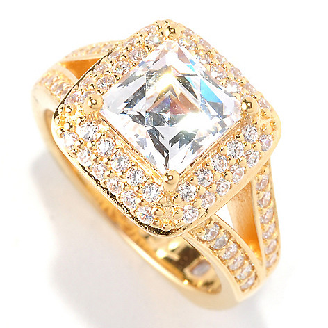 129-048 - TYCOON 2.66 DEW Square & Pave Halo Simulated Diamond Split Shank Ring
