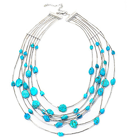 129-053 - Gem Insider™ Sterling Silver 18'' American Turquoise Multi Strand Necklace