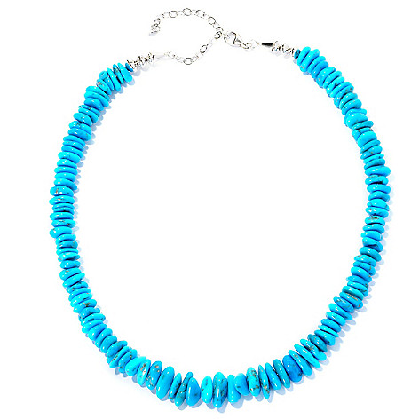 129-054 - Gem Insider Sterling Silver 18'' Freeform American Turquoise Bead Necklace
