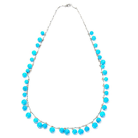 129-055 - Gem Insider Sterling Silver 18'' Sleeping Beauty Turquoise Bead Necklace