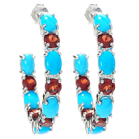 129-070 - Gem Insider® Sterling Silver 1.25'' Sleeping Beauty Turquoise & Gemstone Earrings