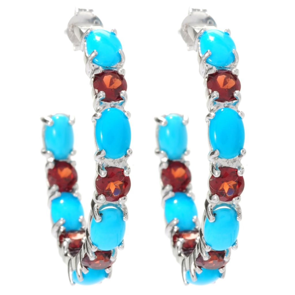 129-070 - Gem Insider Sterling Silver Sleeping Beauty Turquoise & Topaz J-Hoop Earrings