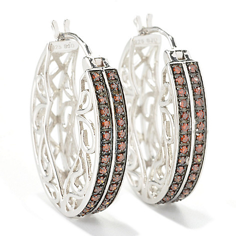 129-078 - Diamond Treasures Sterling Silver 1'' 0.50ctw Fancy Color Diamond Oval Hoop Earrings