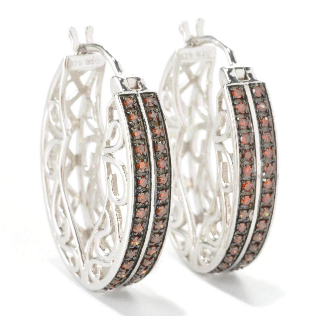 "129-078 - Diamond Treasures Sterling Silver 1"" 0.50ctw Fancy Color Diamond Oval Hoop Earrings"