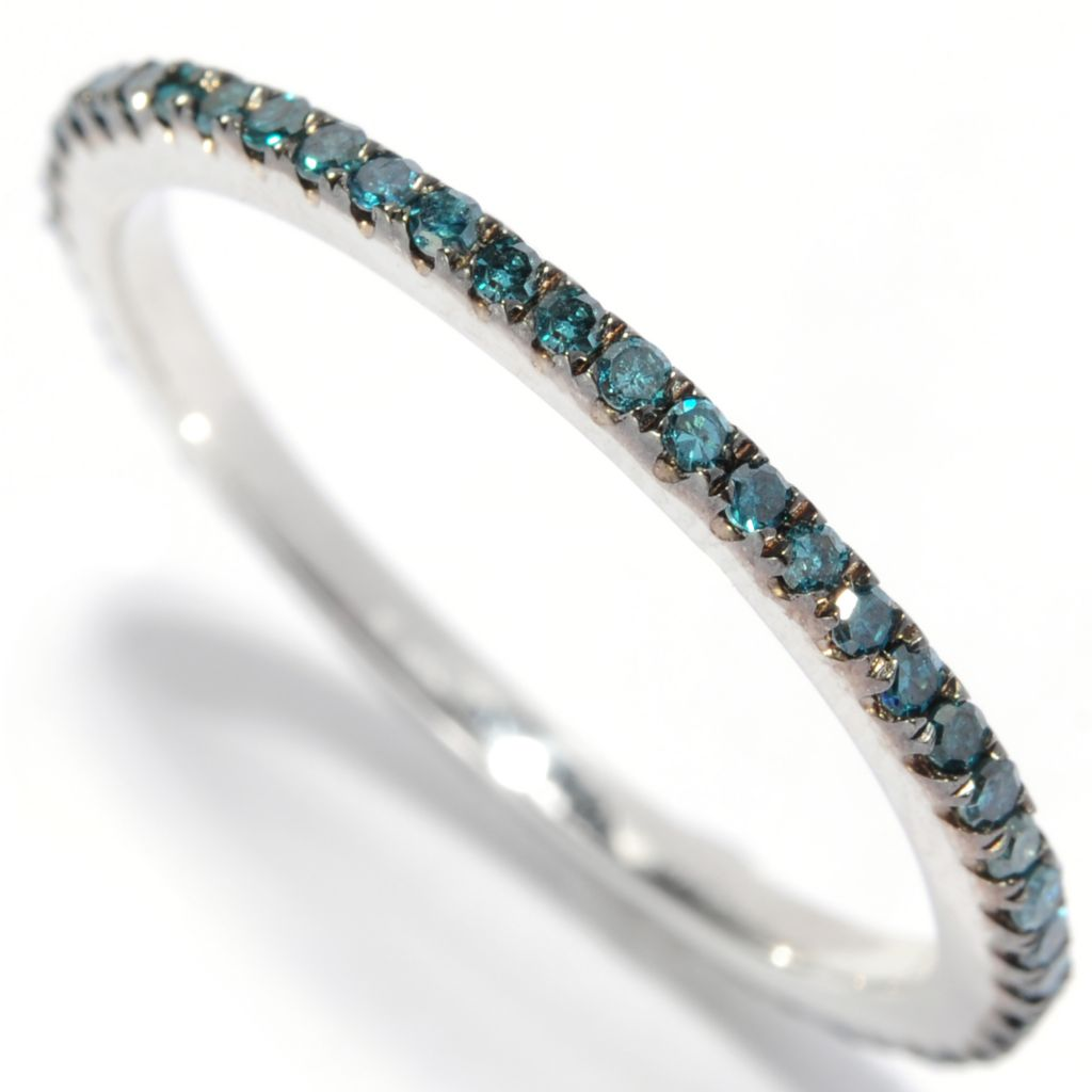 129-091 - Diamond Treasures Sterling Silver 0.25ctw Fancy Color Diamond Eternity Band Ring