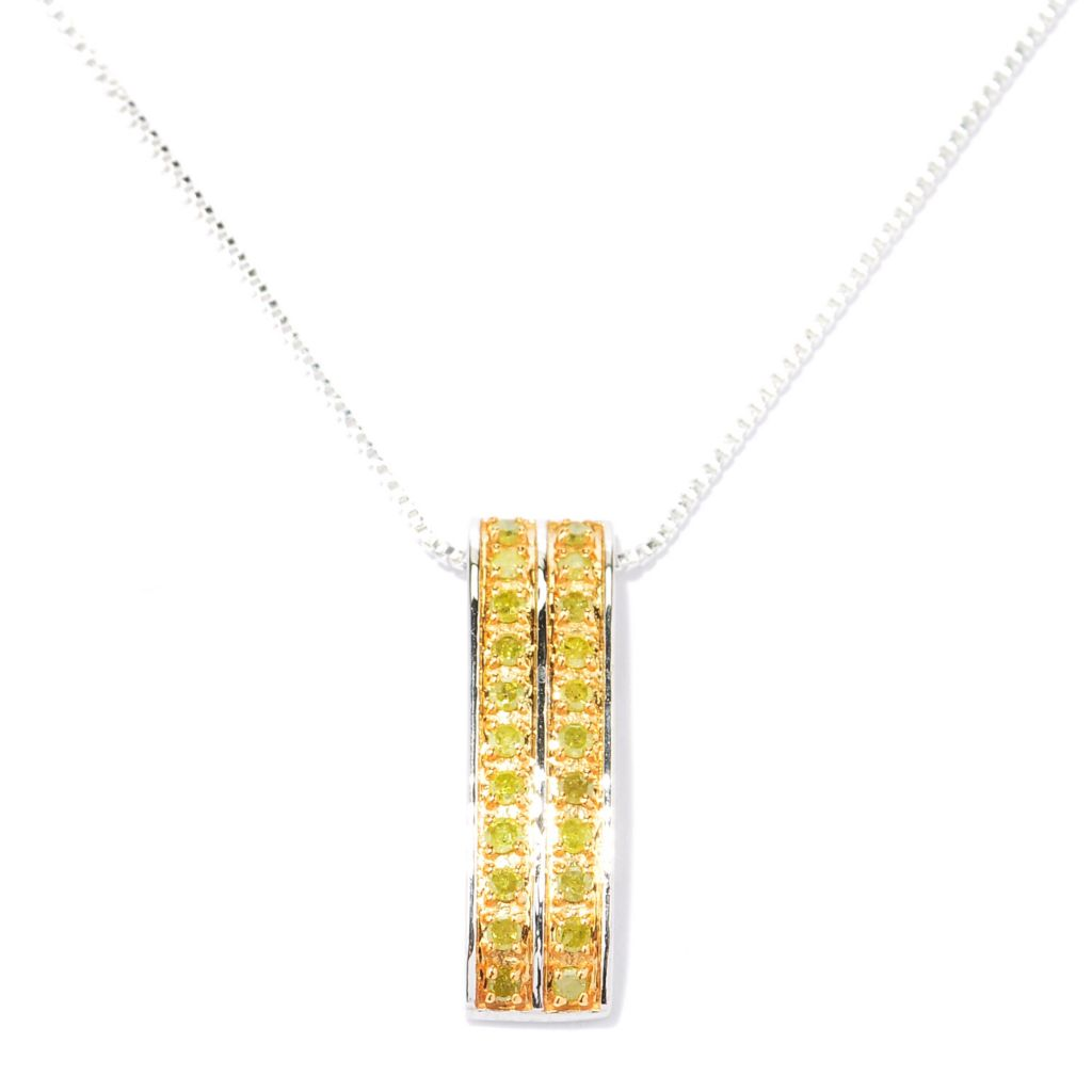 129-094 - Diamond Treasures Sterling Silver 0.25ctw Fancy Color Diamond Pendant w/ Chain