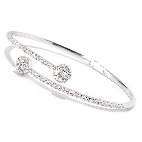 129-095 - TYCOON Platinum Embraced™ 3.49 DEW Simulated Diamond Bypass Bangle Bracelet