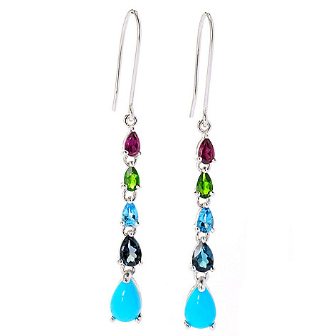 129-097 - Gem Insider™ Sterling Silver 2'' Sleeping Beauty Turquoise & Multi Gemstone Dangle Earrings